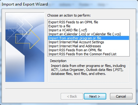Choose import from another file option