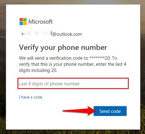 Send verification code for outlook
