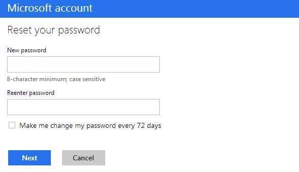 Reset password in Outlook