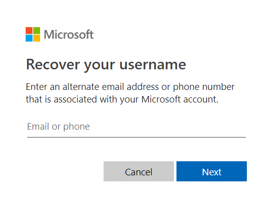 Enter phone number or email address to recover username