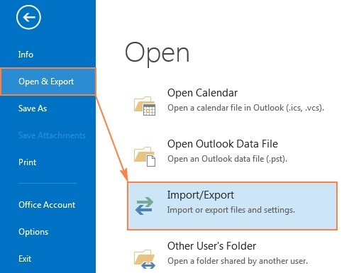 Outlook Import Export Option