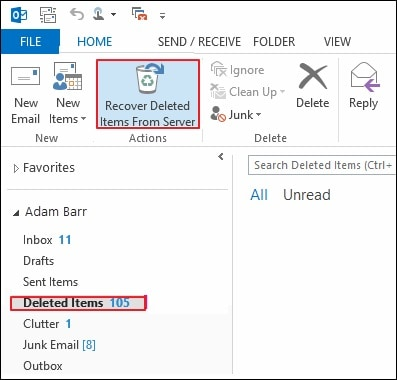 Outlook 2013 Recover Deleted Items