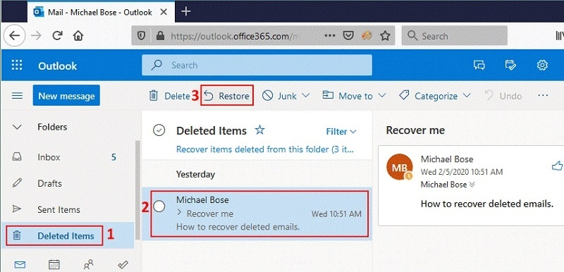Outlook 365 Restore Deleted Items