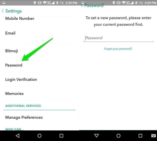 Reset Snapchat Password