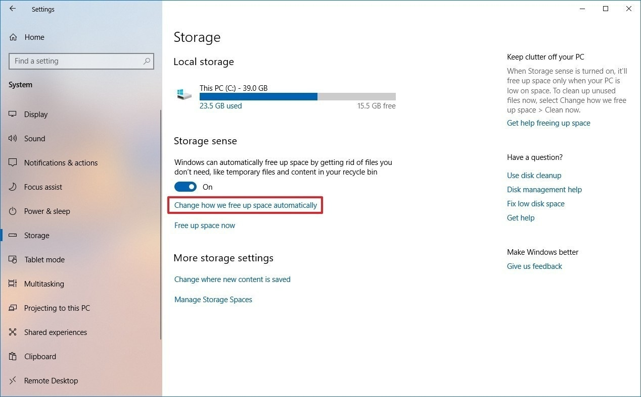 click on change how we free up space automatically in windows 10