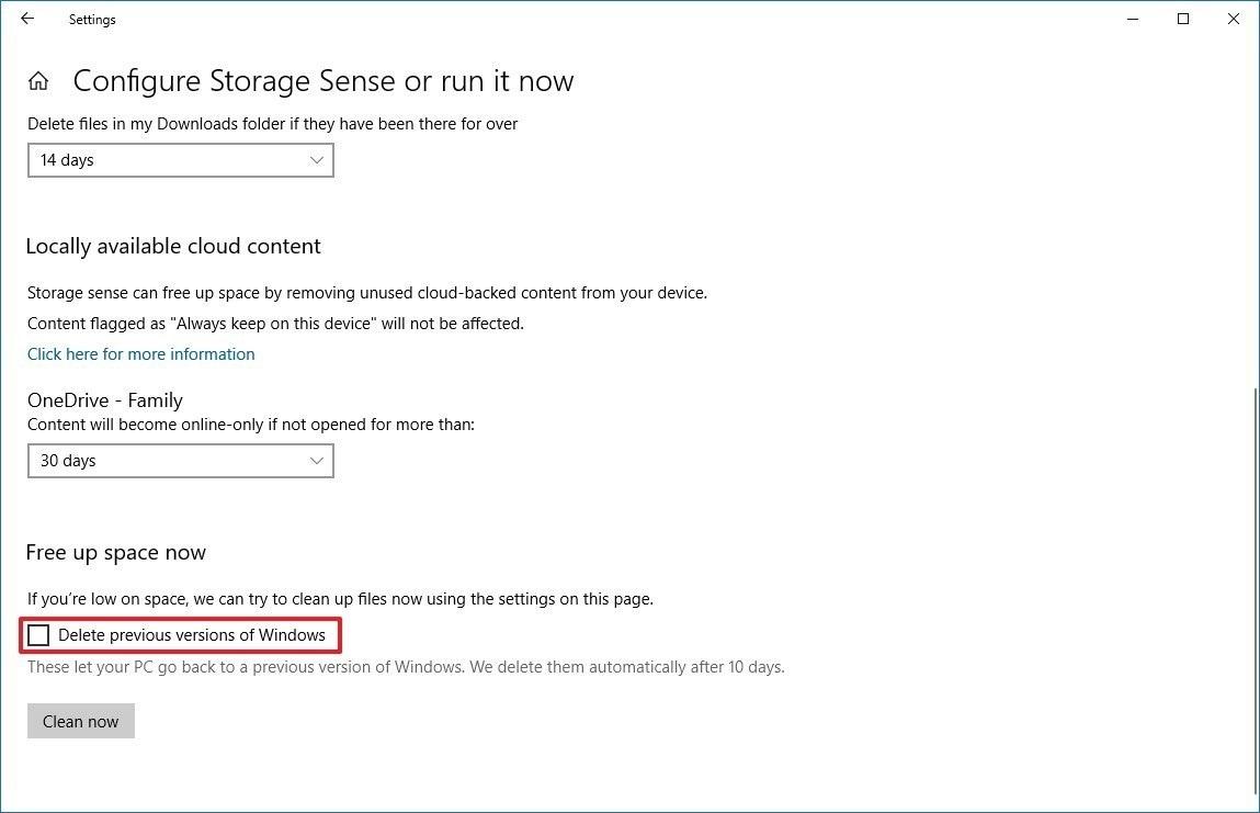 choose delete previous versions of windows in windows 10
