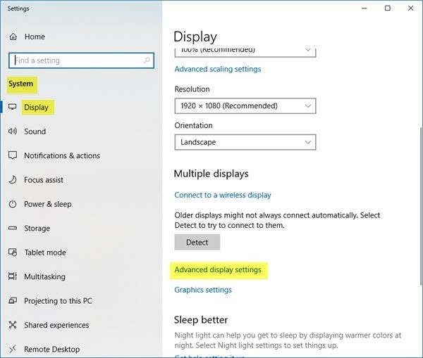 select advanced display settings