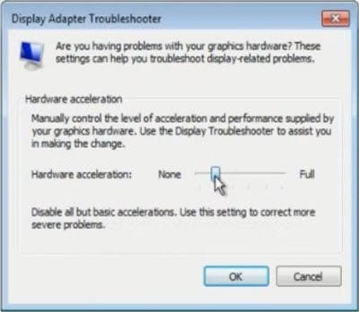 reduce the hardware acceleration using slider