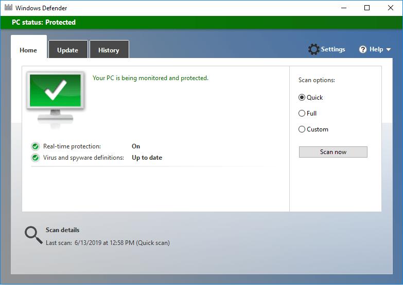 Antivirus Scanning Windows 10