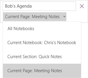 finding onenote notebook by using search feature