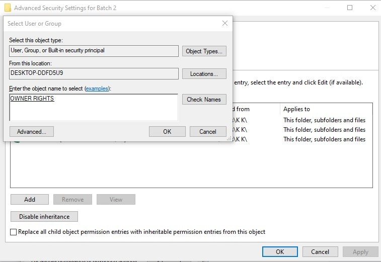 Change the File/Folder Ownership