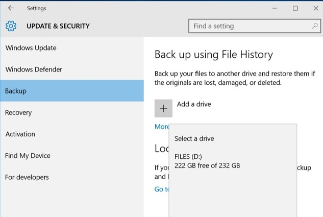 Historique des fichiers Windows Ajouter un lecteur