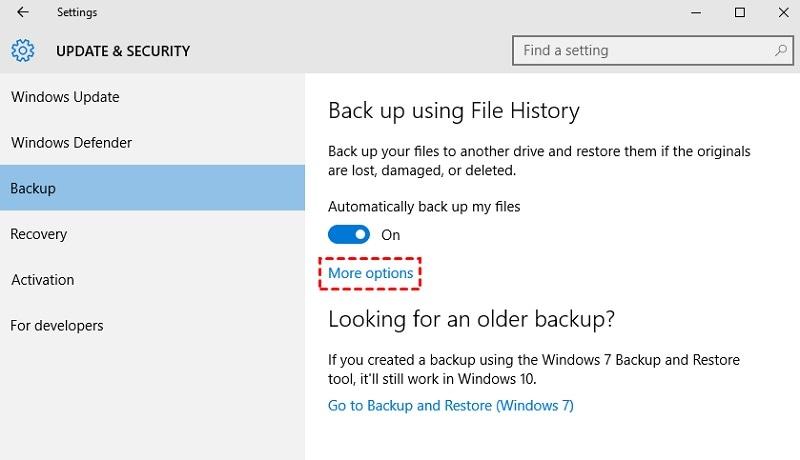 Historique des fichiers Windows Plus d'options