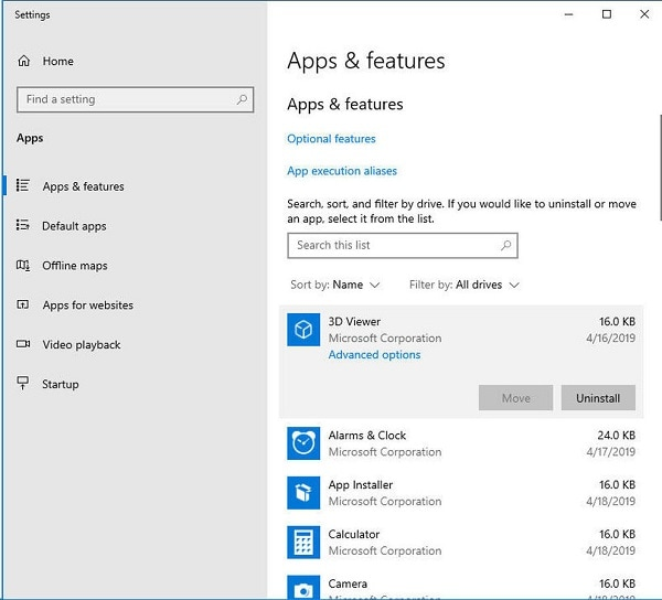 Windows Installed Apps