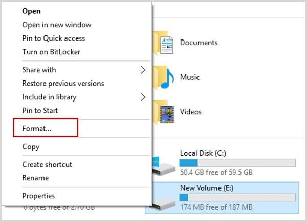 Format Partition in Windows Explorer
