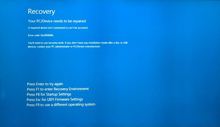 Windows Recovery Error