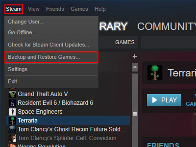 Steam Backup and Restore Option