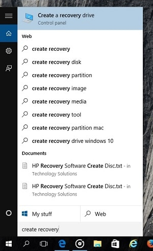 Launch Windows Recovery Drive Wizard