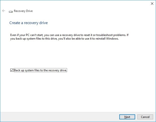 Start Creating a Recovery Drive