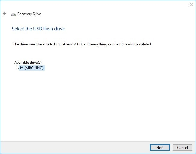Select USB for Recovery Drive