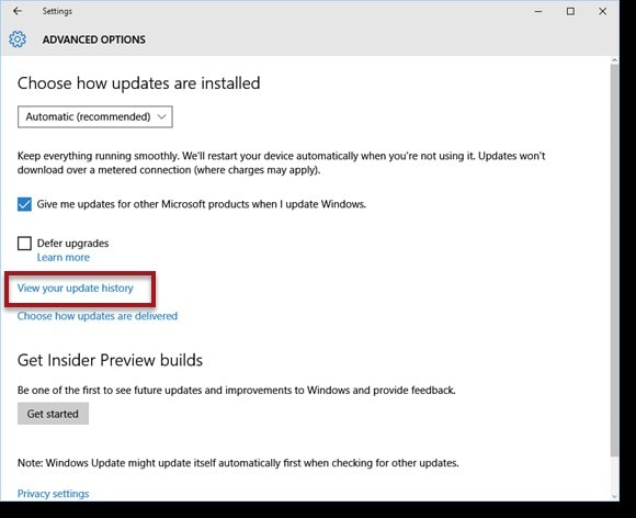 view your windows update history