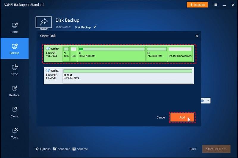 AOMEI Backupper Disk Added
