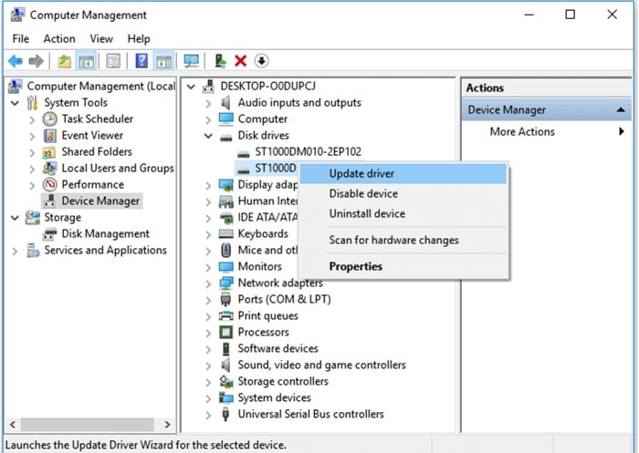 Update Drivers via Device Manager