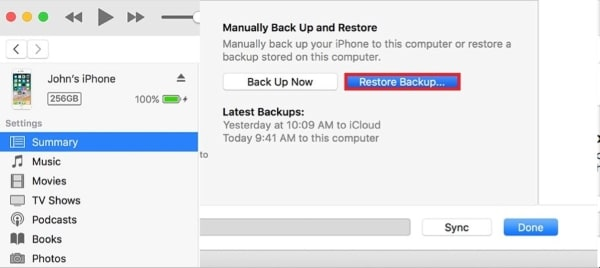 restore itunes backup on iphone