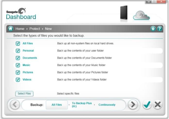 Types de données de Seagate Dashboard