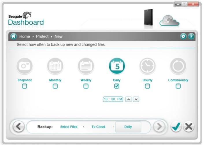 Seagate Dashboard Programmation automatique