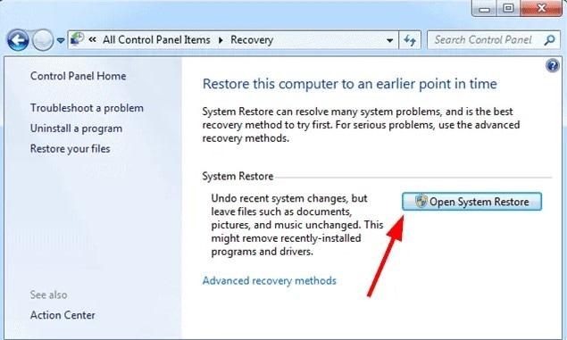 System Restore on Windows