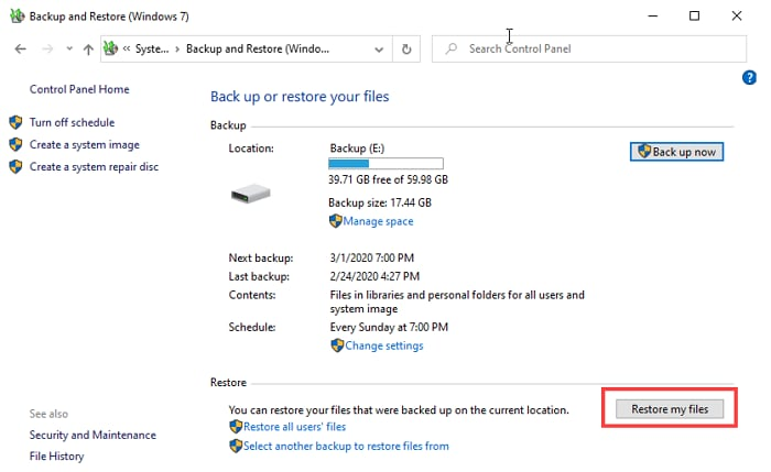 Restore deleted files on Windows 8 or 10