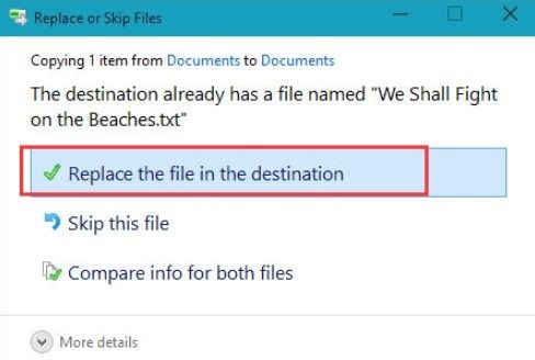 Replace the file in the destination