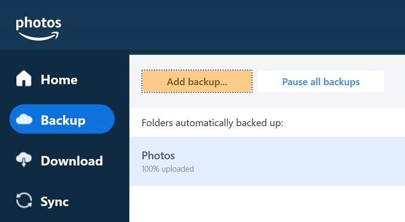 Add backups to Amazon Prime Photos