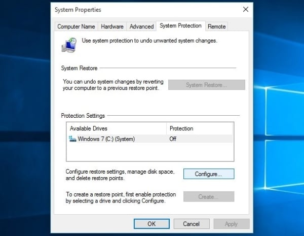 tap on configure option