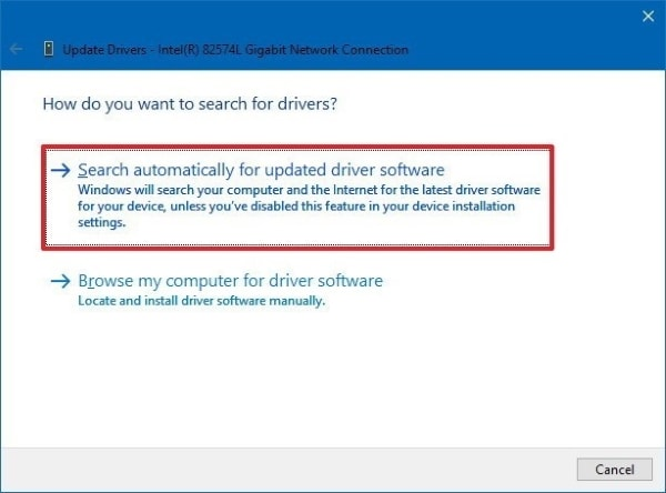 select search automatically update driver option