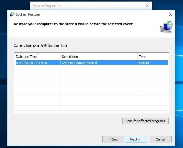 select system restore point and tap next