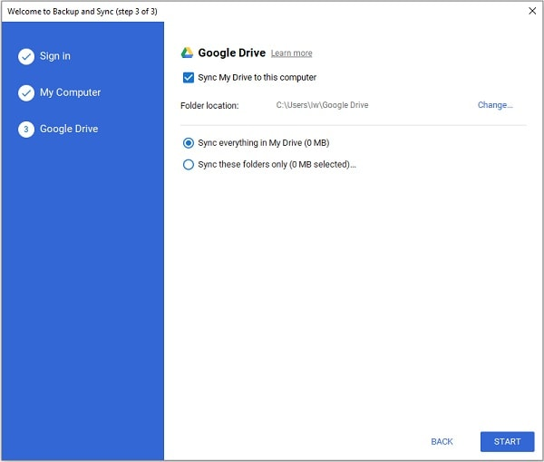Google Backup and Sync Start Backup