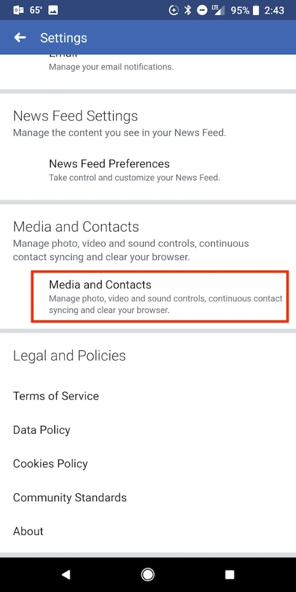 access media and contacts option