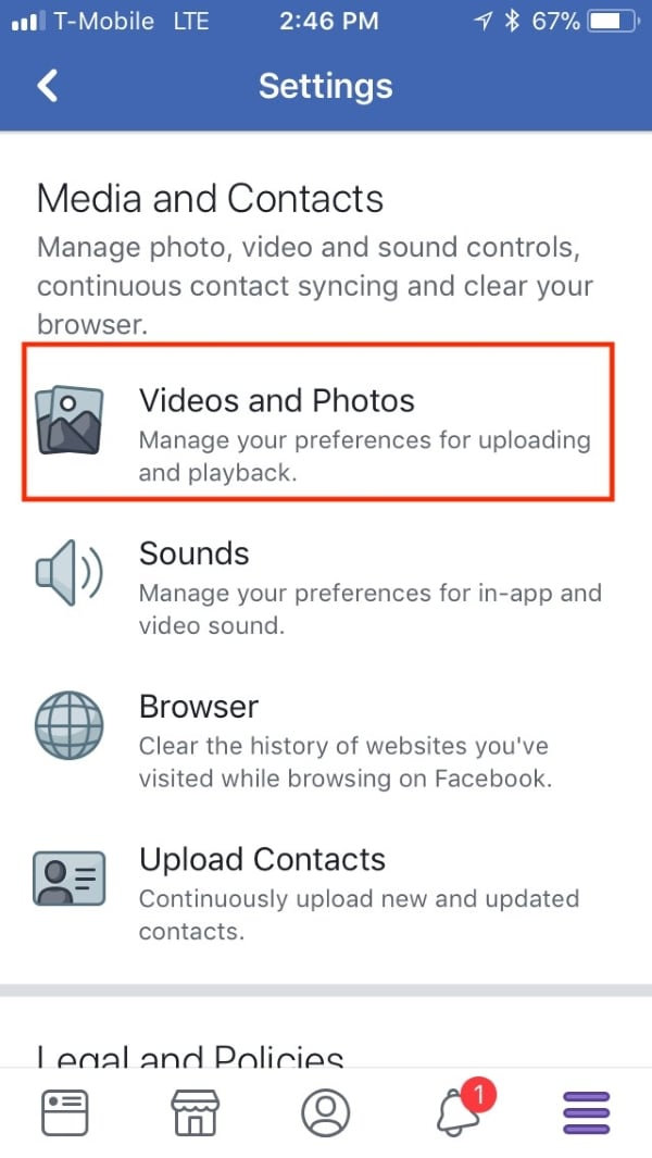 tap on video and photos option