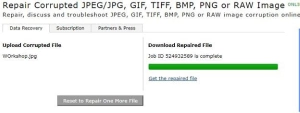 tap on get the repaired file option