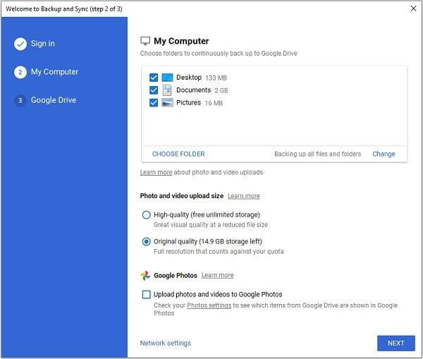 Google Backup and Sync Photos Option