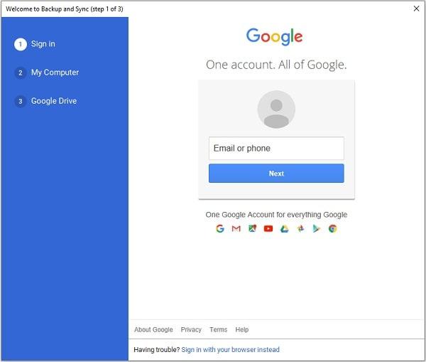 Google Backup and Sync Login