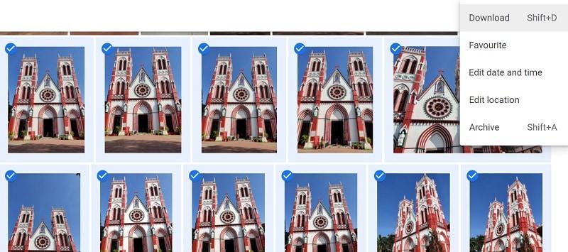 Google Photos Download via Browser
