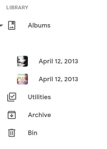 Google Photos Library Albums