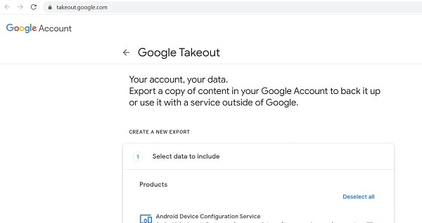 Google Takeout Homepage