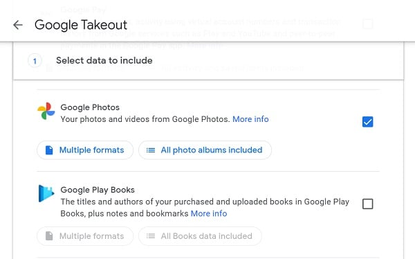 Google Takeout Select Google Photos