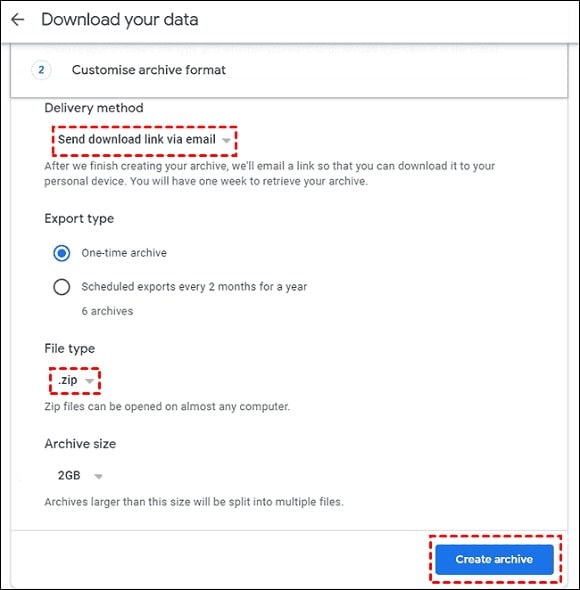 Google Takeout Download Data