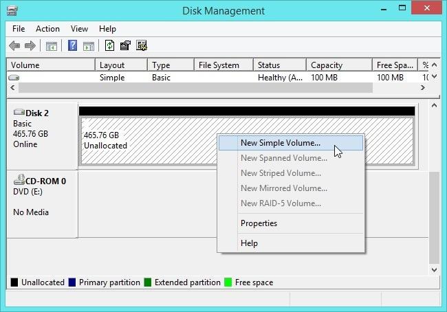 Disk Management Setup New Volume