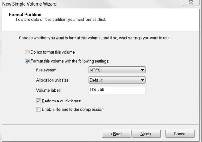 Disk Management NTFS Formatting